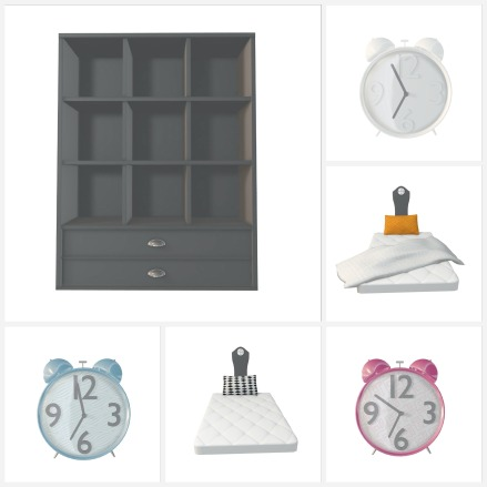 wake me. (clocks, bed, and shelf)