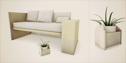 concrete. (garden bench and planter decor)