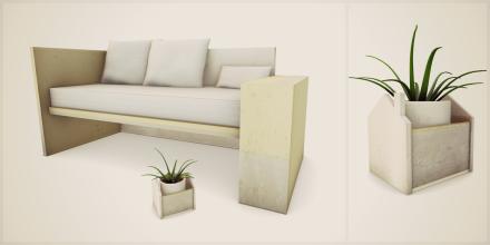 concrete. (garden bench and planter decor)